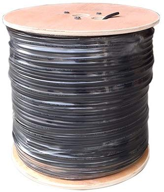 Five Star Cable RG59 Solid 1000ft Bare Copper Siamese Combo Coaxial 20 AWG RG59 + 18/2 18AWG Power ETL Listed Combo CCTV Cable Color Black
